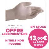 Gants Nitrile non poudrés - Offre lecoindentaire