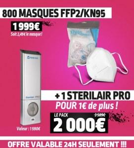 OFFRE 800 FFP2/KN95 + STERILAIR PRO à 1€